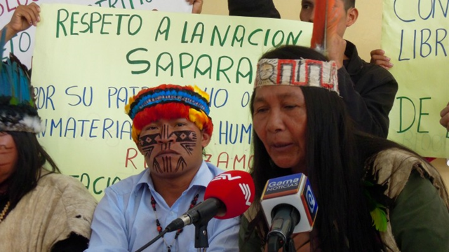 Indigenous partners of the Pachamama Alliance hold a press conference to publicly announce their opposition to the government of Ecuador's decision to let exploration contracts for two Amazonian oil blocks—known as blocks 79 and 83—with Chinese state oil company, Andes Petroleum. The elected leader of the Sápara people, Manari Ushigua, spoke at a press conference in Quito, Ecuador, on 28 January 2016. Photo: Pachamama Alliance