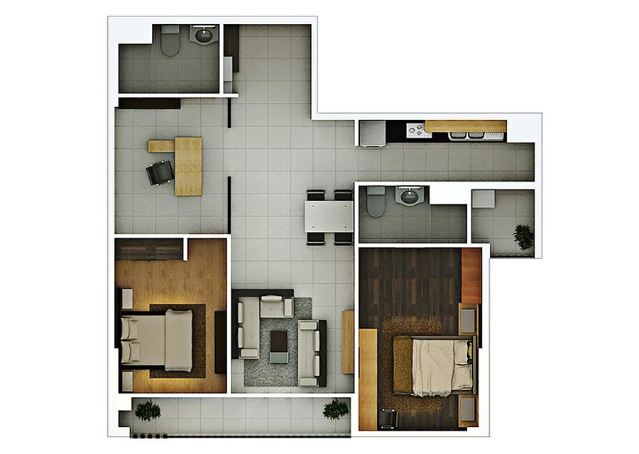 Phối cảnh 2D căn hộ 2 phòng ngủ DT: 98,56m2