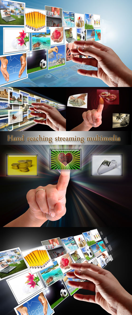 Stock Photo: Hand reaching streaming multimedia from internet