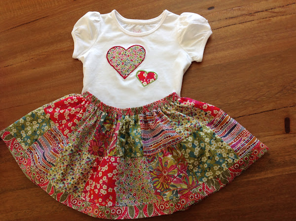 Liberty Girls Patchwork Skirt and Heart T-Shirt by Rhapsody and Thread