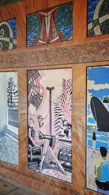 Napier art deco mural celebrating the 1933 post earthquake rebuild