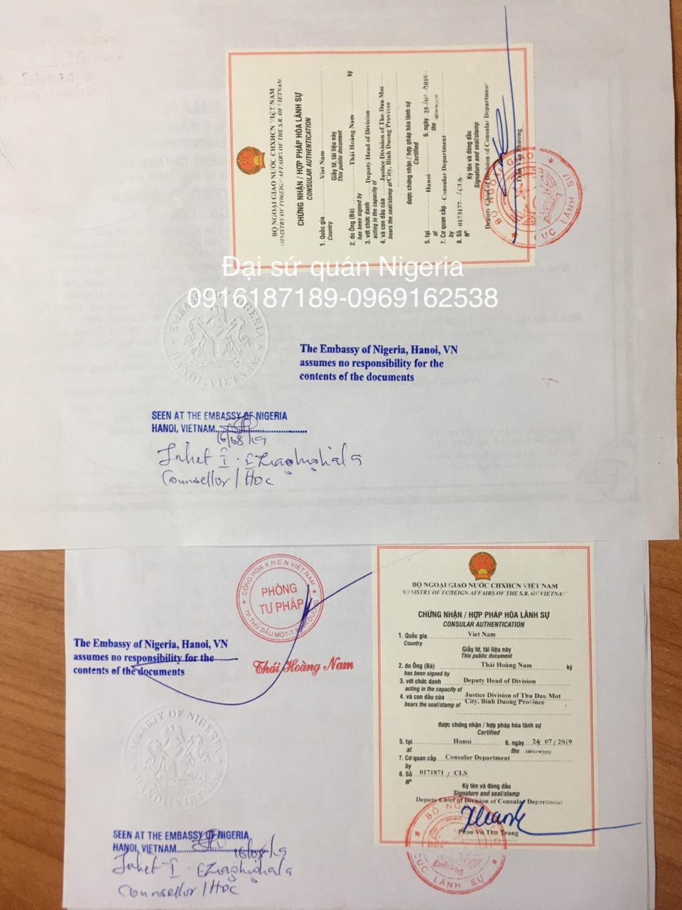 Tem hợp pháp hóa chứng nhận lãnh sự Đại sứ quán Nigeria