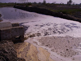 The local river, badly polluted by the nearby paper mill. The project is campaigning against this pollution.