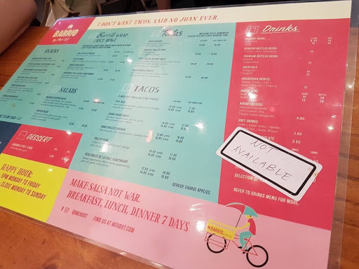 Food menu from Barrio by Mex Out at Vivo City