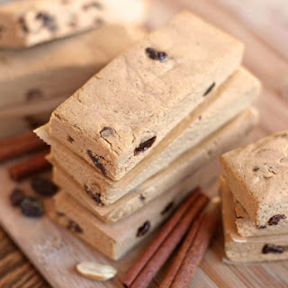 Healthy Cinnamon Raisin Peanut Butter Fudge Protein Bars.