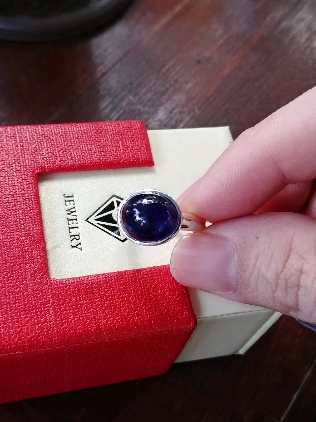Nhẫn nữ đá Sapphire thiên nhiên xanh Hero thịt ngọc, bạc cao cấp