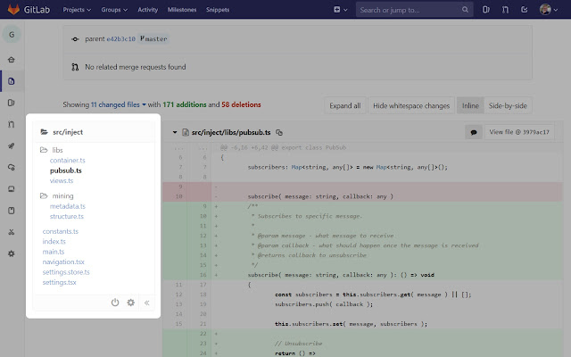 GitLab - Tree view for code