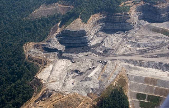 Aerial view of a mountaintop removal coal mining site in West Virginia. Photo: Kent Kessinger / Appalachian Voices