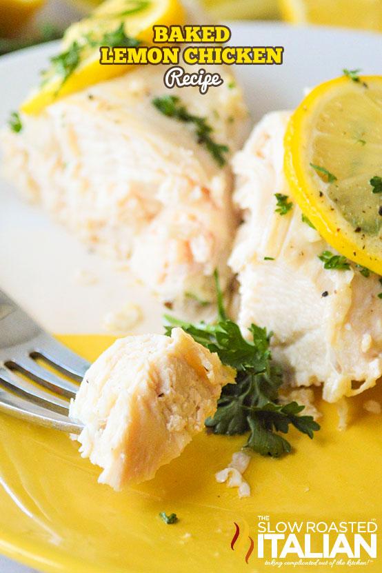 Baked Lemon Chicken Recipe on a white plate
