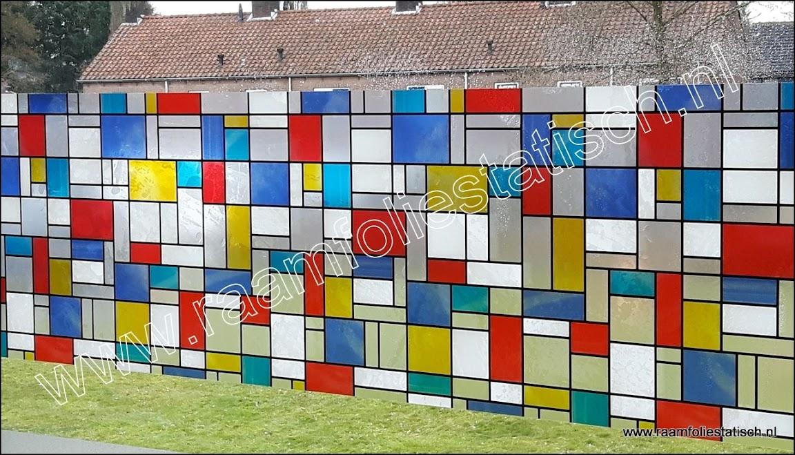 raamfolie voorbeelden kleuren mondriaan