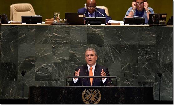 """""""Si queremos que Colombia brille y que brille la paz, es necesario que derrotemos el narcotráfico"""", afirmó el Presidente Duque durante su primera intervención en la Asamblea General de la ONU."""
