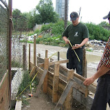 Building the fence in Radvanka, July 2008
