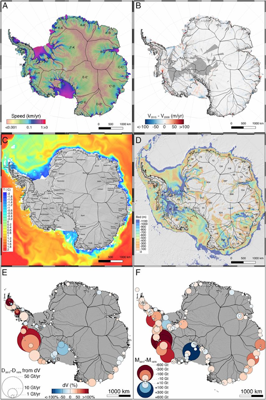(A) Ice speed of the Antarctic Ice Sheet derived from multisensor data for the time period 2014–2016 (11) with 18 subregions A–K (black thin lines) delineated from surface slope and ice flow direction data (SI Appendix, Fig. S3). (B) Change in flow speed from the time period 2007–2008 to 2014–2015 color-coded from blue (deceleration) to red (acceleration). Grey areas have no data. (C) Basin names for subregions and ocean temperature at 310-m depth from the Southern Ocean State Estimate (SOSE) (12) color-coded from cold (blue) to warm (red). White areas in the ocean are shallower than 310 m depth. (D) Bed topography between 0 and 1,100 m depth, with SLE of each basin in centimeters of SLE (1, 13). (E) Change in grounding line ice discharge, D, for 1979–2017 for the 18 major subregions in billions of tons per year with percentage change in speed color-coded from red (acceleration) to blue (deceleration) and circle radius proportional to change. (F) Total change in mass of major basins color-coded from blue (gain) to red (loss) for 1979–2017 with circle radius proportional to the absolute mass balance. Graphic: Rignot, et al., 2019 / PNAS
