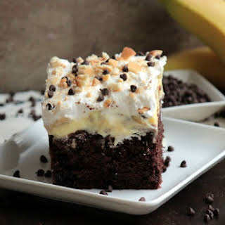 Chocolate Banana Poke Cake.