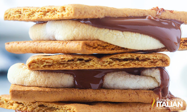 smores recipe in a stack
