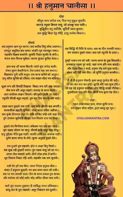 Hanuman Chalisa In Hindi Lyrics Image