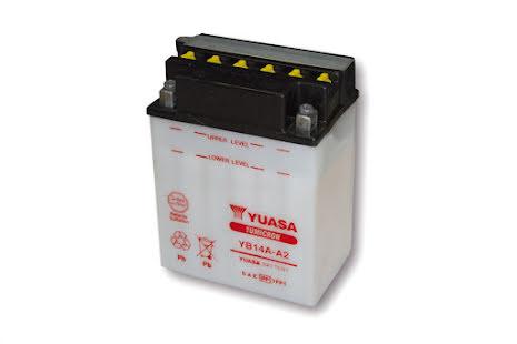 YUASA MC-batteri YB 14A-A2 utan syrapack
