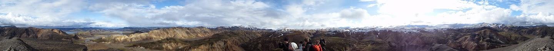 Panoraamakuvaa Landmannalaugar hutin läheltä olevalta vuorelta. JJT