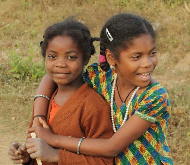 Young Siddhi Tribal girls at a village near Dandeli, Karnataka