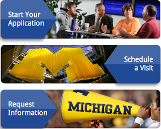 Calls to Action on the Michigan Admissions web site