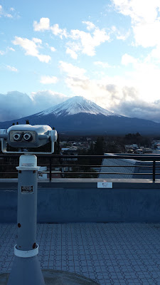 View from the observation deck at our ryokan Wakakusa no Yado Maruei. Mount Fuji, Fujisan! The viewfinder was free and pretty cool to look at the details of the the mountain