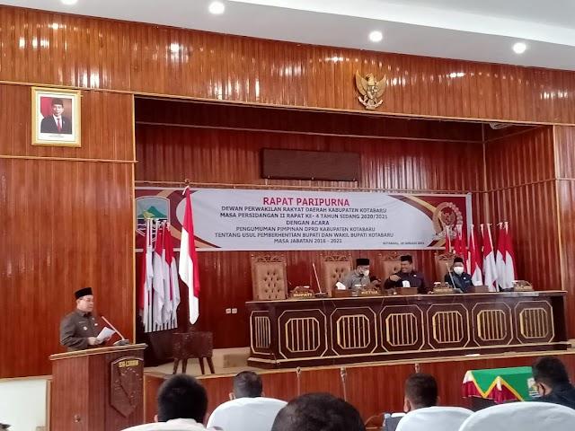 Paripurna, DPRD Kotabaru Usulkan Pemberhentian Bupati - Wakil Bupati