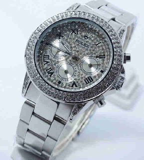 Jual jam tangan Rolex chrono aktif full silver