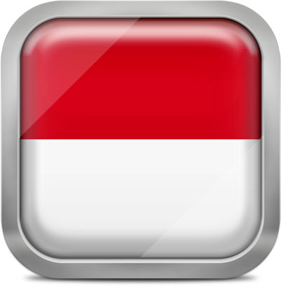 Indonesia square flag with metallic frame