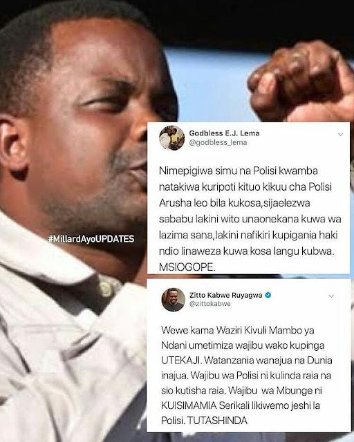 Godbless Lema Calling Police … Zitto Kabwe Atia Voice
