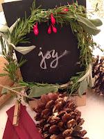 Christmas gift mini chalkboard rosemary wreath JOY