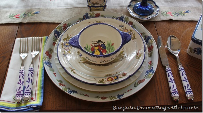 French Quimper Table-Bargain Decorating with Laurie
