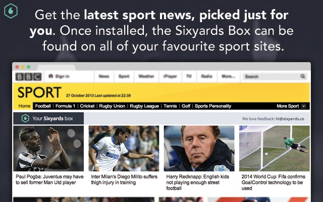 Sixyards: personalised sport news