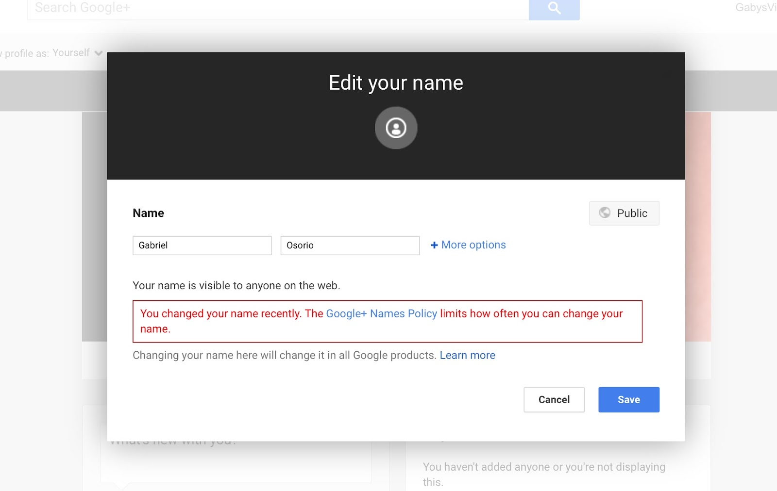 PLEASE HELP: im trying to change my google accounts name