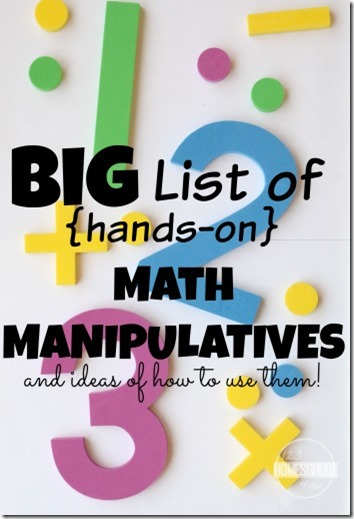 BIG list of hands on math manipulatives and ideas for how to use them! GREAT ideas for Preschool, Kindergarten, 1st grade,2nd grade, 3rd grade (homeschool math)