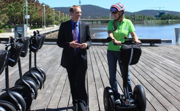 simon corbell and a segway