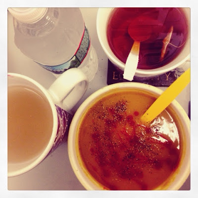 Liquid Lunch of Soup Cider Vinegar Drink tea and water