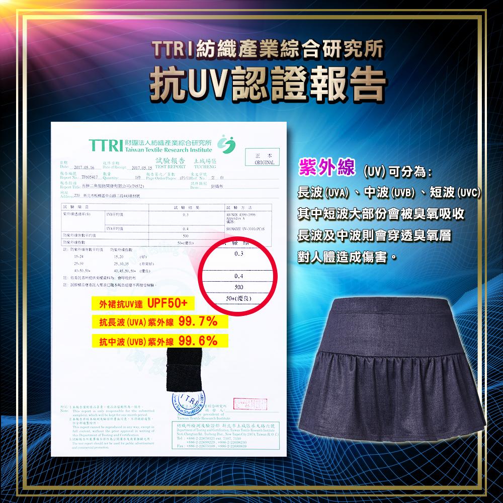 涼感 顯瘦 彈性 假兩件 裙擺 長褲 透氣 舒適 吸濕 排汗 抗UV 防曬