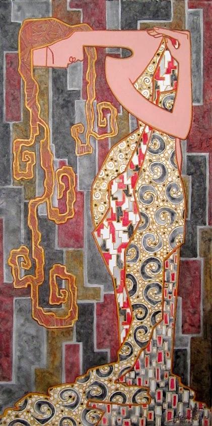 Pintura en acrílico Dama Reverencial de la pintora Gloria Morán