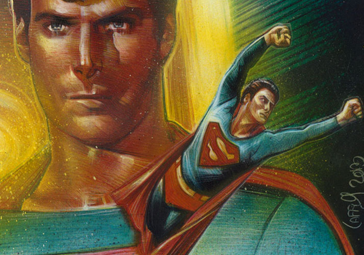 Christopher Reeve as Superman, ACEO Sketch Card by Jeff Lafferty