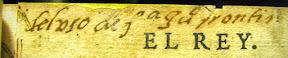 Otro detalle del tintado de cortes y texto manuscrito