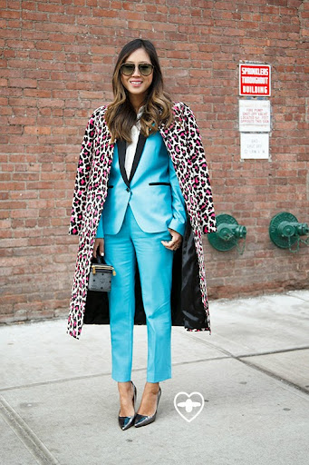 Aimee Song; California blogger and interior designer; Michael Kors coat; Michael Kors suit; MCM bag; Diane Von Furstenberg shoes;