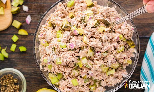 Tuna Salad Recipe in a clear bowl