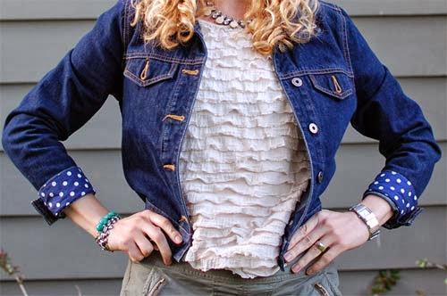 customização de jaqueta com punhos de bolinha