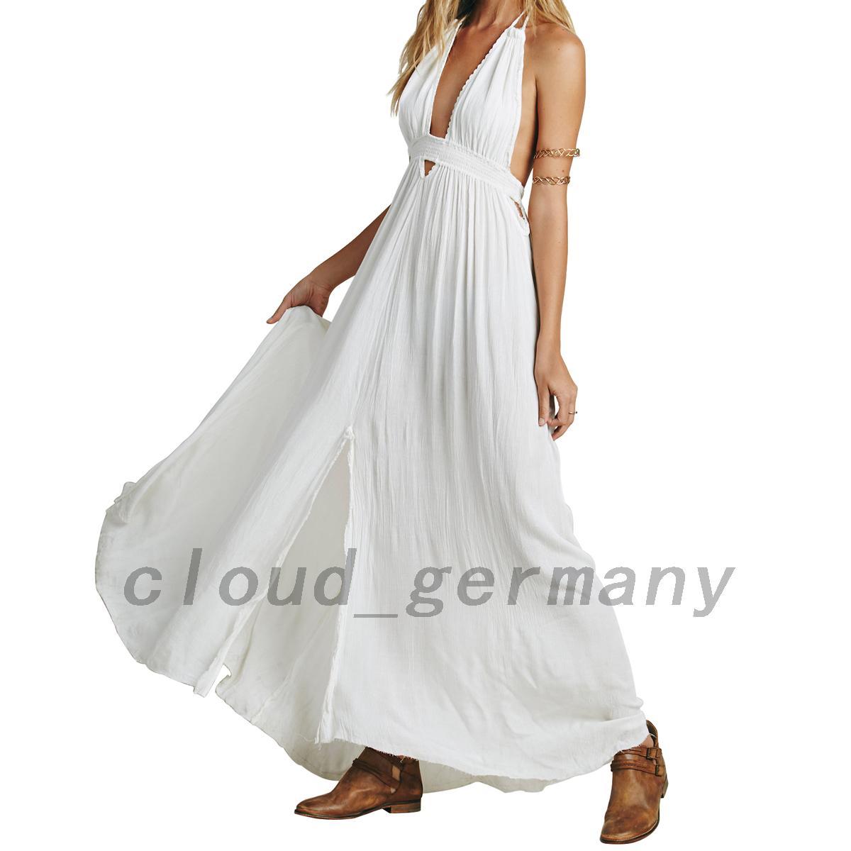 r ckenfrei kleid damen elegant hochzeit wickelkleid strandkleid lange rock ebay. Black Bedroom Furniture Sets. Home Design Ideas