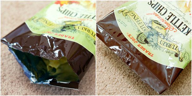 photo collage showing an open chip bag and after it's been sealed closed