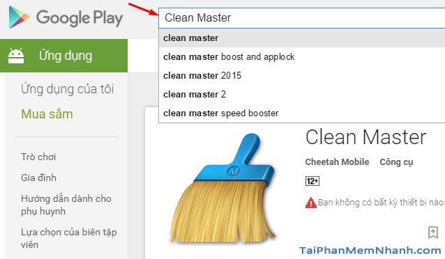 tìm ứng dụng Clean Master trên Google Play