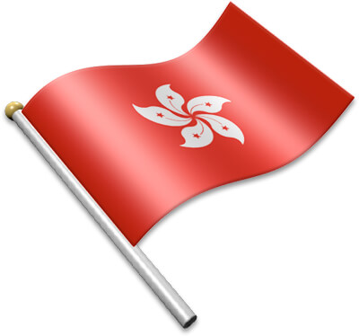The Hong Kong flag on a flagpole clipart image