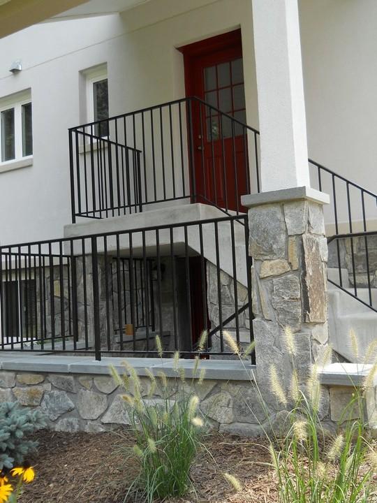 The back entrance with beautiful stonework