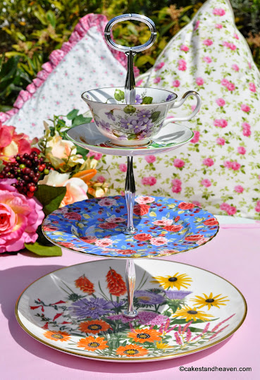 colourful mixed bone china three-tiered cake stand with red poppies teacup top