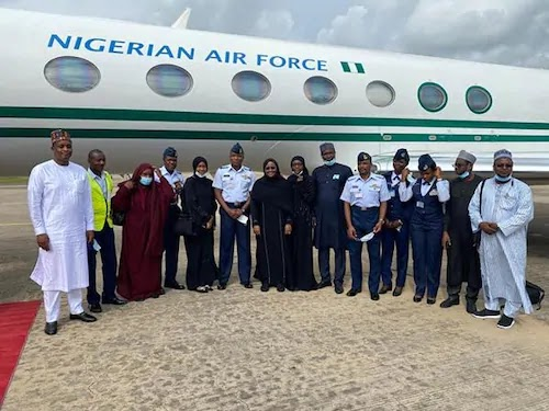 Aisha Buhari returns from medical trip, speaks on near crash experience, SD news blog, Nigerian bloggers, news now Nigeria, active airlines in Nigeria